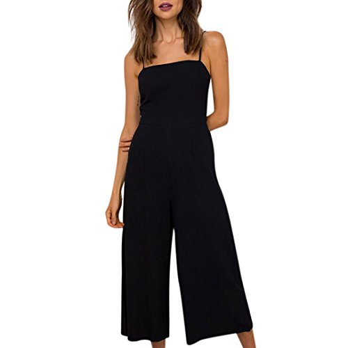 Women Holiday Sleeveless Backless Solid High Waisted Wide Leg Pants Summer Beach Jumpsuit Playsuit Rompers