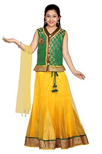 Aarika Girl's Self Design Party Wear Lehenga Choli Set (545-GREEN_18_2-3 Years)