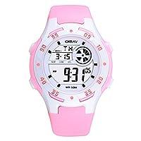 Sport LED Luminous Alarm Digital Watch Waterproof PU Strap Quartz Children Wrist Watch,Pink