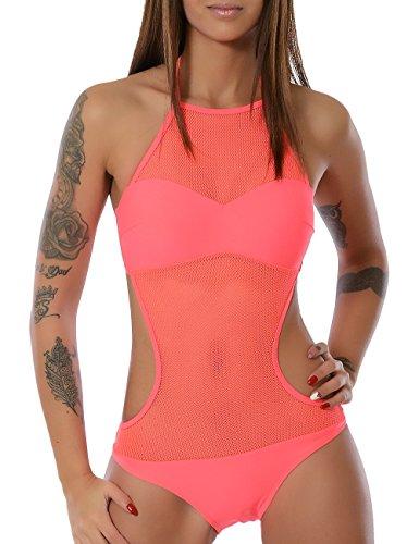 Damen Monokini Badeanzug (weitere Farben) No 13772, Farbe:Lachs;Größe:34 / XS (Neckholder-badeanzug Braunes)