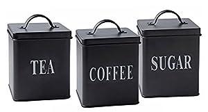 Lot de 3boîtes de style traditionnel/rétro/vintage Noir Acier coloré avec des lettres Bloc Blanc pour thé, café et sucre