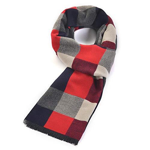 Relddd Herren schals Herbst/Winter Herren überprüfen Schal einfach dekorative Trend Schal Warm Junge verdickt Schal 185 * 35cm (Herren Verdickt Schal)