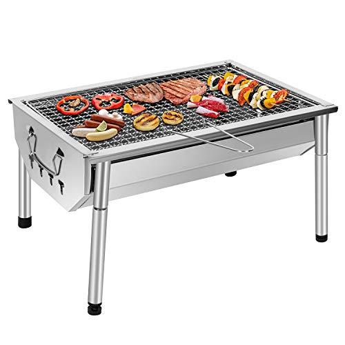 sunjas barbecue portatile a carbone,barbecue grill,bbq griglia in acciaio inox per 4-6 persone,griglia trasportabile per picnic all'aperto giardino terrazza campeggio(40 x 28 x 21.5 cm)