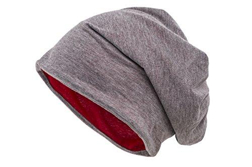 shenky Chemomützen Unisex dünne Mütze bei Haarausfall Haarverlust Chemotherapie Beanie (Grau-Rot ()