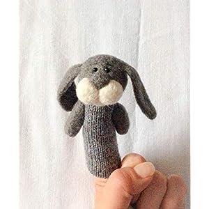 Fingerpuppe graues Kaninchen.