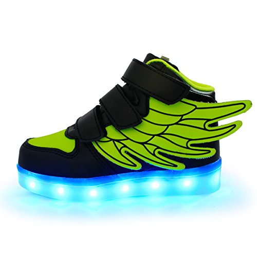 DoGeek -Enfant Led Chaussure Basket Lumineuse - Pour Fille Gar?on - USB Rechargeable Vert