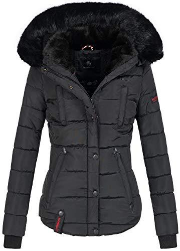 Marikoo warme Damen Winter Jacke Winterjacke Steppjacke gefüttert Kunstfell B618 [B618-Lotus-Schwarz-Gr.L]