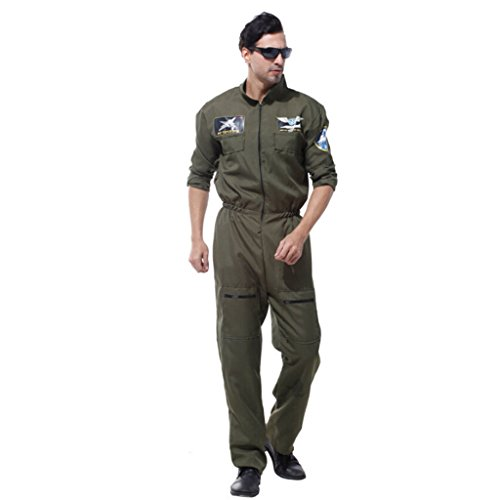 Pilot Vintage Kostüm - MagiDeal Pilotenkostüm Flieger Kostüm Piloten Outfit Fliegerkostüm Cosplay Verkleidung