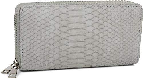 styleBREAKER Damen Geldbörse in Krokodilleder Optik, 2 umlaufende Reißverschlüsse, Portemonnaie 02040126, Farbe:Hellgrau