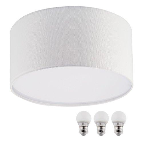 SEBSON® Lampara techo tela, blanco, incl. 3x E27 bombilla 5W LED, Equivale de 35W, Calido Blanca, 400lm