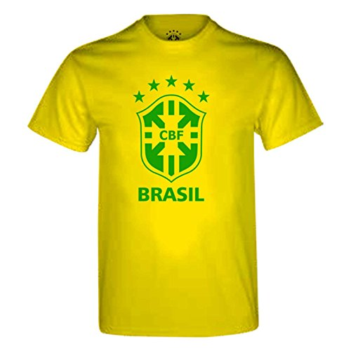 Brasilien Official gelb Baumwolle Large Logo Fußball T Shirt Gelb gelb S (Gelb T-shirt Logo)