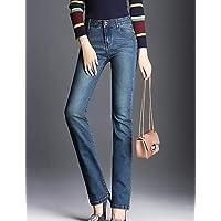 YFLTZ Pantalones Jeans Street Chic para Mujer - Color sólido, Azul, 28