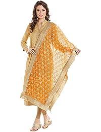 Dupatta Bazaar Women's Orange & Gold Designer Net Dupatta With Floral Gold Gotta Work Design