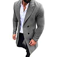 ¡Gran promoción!Abrigos para Hombre Rovinci Moda Guapo Otoño Invierno Trench Botón de Prendas de Vestir Exteriores Largo Abrigos Elegantes Abrigos