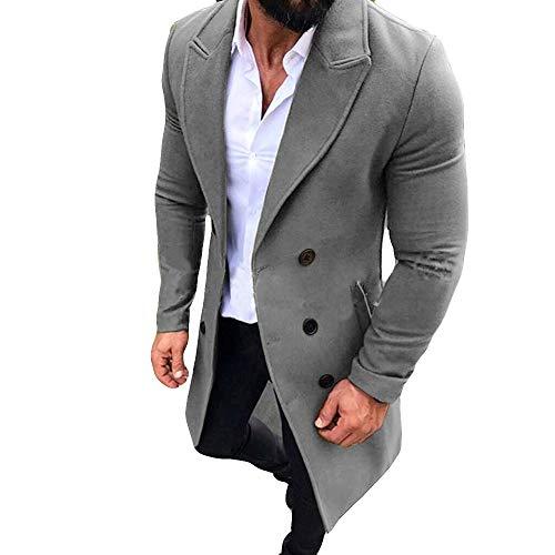 24a5676835923a MERICAL Mäntel Herren Herbst und Winter Trench Long Outwear Button Smart  Mäntel(Large