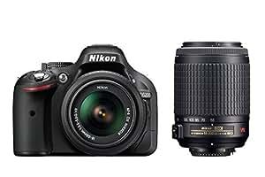 Nikon D5200 SLR-Digitalkamera (24,1 Megapixel, 7,6 cm (3 Zoll) TFT-Display, Full HD, HDMI) Double-Zoom-Kit inkl. AF-S DX 18-55 mm VR und 55-200 mm Objektiv schwarz