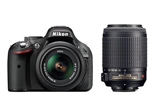 Nikon-D5200-Fotocamera-Digitale-SLR-24-Megapixel-incluso-Obiettivo-AF-S-DX-18-55-mm-VR-e-55-200-mm-Colore-Nero-Versione-EU