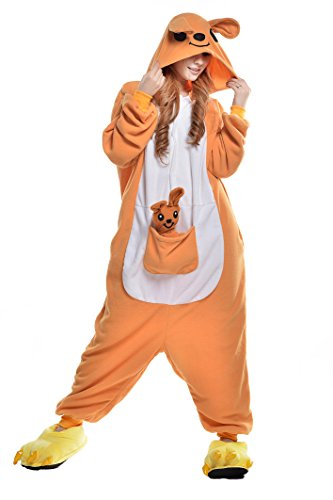 tüm Jumpsuit Tier Schlafanzug Erwachsene Unisex Fasching Cosplay Karneval (XL, Kangaroo) (Womens Orange Jumpsuit Kostüm)