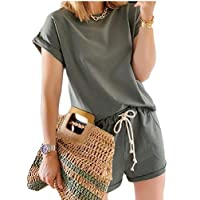 desolateness Womens Tracksuit Outfits Short Sleeve T-Shirts Shorts Sweatpants 2 Piece Sportswear Army Green S