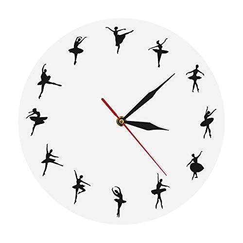 xuyuandass Wanduhren,Uhren,Wecker Ballett-Zeit-Ballerina-Tänzer-Unbedeutendes Entwurfs-Tanz-Studio-Modernes Tanzen-Liebhaber-Kunst-Geschenkweiß Kann Gut Dekorieren Home Office Kaffee Bar Hotel
