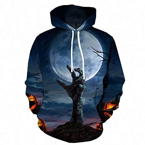 Unisex Hoodie Long Sleeve Kapuzenpullover 3D Druck Sweatshirt Pullover ☆Elecenty☆ Sweatshirts Halloween mit Aufdruck Herbst Winter Hemd Langarm Top Jumper Shirt Bluse Outwear Mäntel - Adult Heavyweight Long Sleeve T-shirt