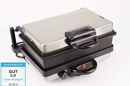 Ertex EXCLUSIVE Elektrogrill Multigrill Kontaktgrill Grill Toaster LAHMACUN + Kasserolle NEUES MODELL Silver Edition