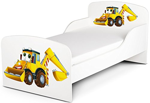 Moderne Lit d'Enfant Toddler Avec Matelas Couleur Blanc Motif Pelle Jaune Véhicules De Construction Dimensions 140x70 Chambre Pour Les Enfants Meubles Pour Enfants Confortable Fonctionnel Lit Simple