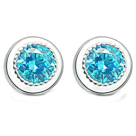 Epinki Damen Ohrringe, 925 Silber Rund Form Ohrschmuck Charme Damenohrstecker Silber Blau mit Blue Zirkonia