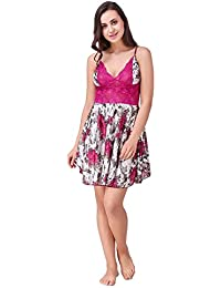 Freely Pink color Floral Printed Babydoll Nighty