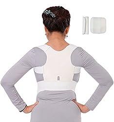 Geradehalter Haltungskorrektur Rücken-Bandage Schulter für Damen und Herren Weiß Größe M = 65-85 cm Brustumfang