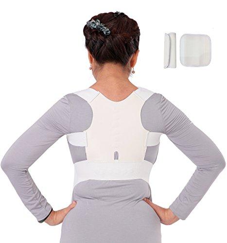 Geradehalter Haltungskorrektur Rücken-Bandage Schulter für Damen und Herren Weiß Größe XXL = 90-110 cm Brustumfang -