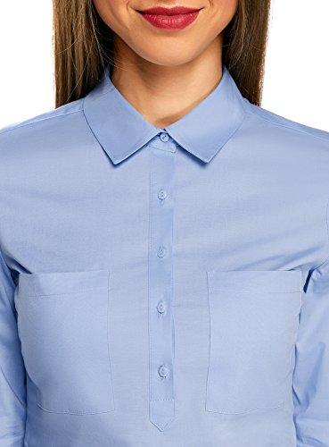 oodji Ultra Damen Hemd Basic mit Brusttaschen Blau (7000N)