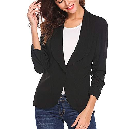 IZHH Damen-Blazer-Art- und Weisefrauen Normallack OL Art- und Weise 3-4 Hülsen-Drehen-unten Kragen-Knopf-Blazer-Elegante Mantel-dünne Klage-Mantel-Geschäfts-Artjacke(Schwarz,X-Large) -