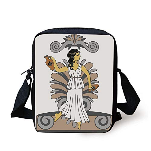 Toga Party,Greek Woman with Amphoras in Classical Style Colored Variant Art,Grey Light Brown Black Print Kids Crossbody Messenger Bag Purse