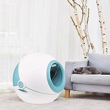 FXQIN Plateau à litière pour Chat, Compartiment à litière pour Chat - Déodorant Anti-éclaboussures, avec Pelle à litière pour Chat, Toilette pour Chat entièrement fermée (Bleu)