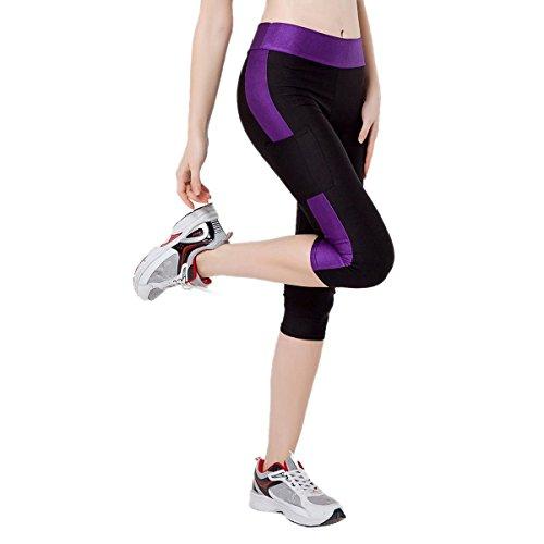TININNA Femmes Sport Capri Physique Elastique Leggings Mince Yoga Des Pantalons De Yoga Jogging Violet