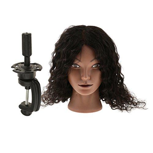 Sharplace Têtes d'Exercice en Réel Cheveux Humains Cosmétologie Tête Mannequin Femme Afro de Formation de Coiffure/Coiffage Stying avec Pince de Support
