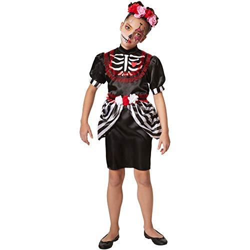 dressforfun 900412 - Mädchenkostüm gruselige Skelettdame, Kurzkleid mit aufgenähtem Blumengürtel an der Taille (152 | Nr. 301989)