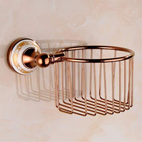 Badaccessoires Sets Im europäischen Stil Rose Gold Keramik Bad Accessoires Anzug Falten Handtuchhalter, Handtuchhalter Warenkorb -