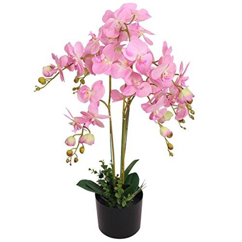 vidaXL Künstliche Orchidee mit Topf Kunstpflanze Kunstblume Dekoblume 75 cm Rosa