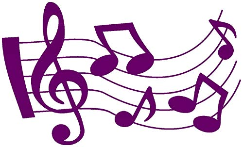 Samunshi Musiknoten Aufkleber geschwungen in 7 Größen und 25 Farben (60x36cm violett)