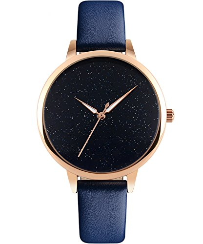 CIVO Damen Uhren - Blau Echtes Lederband Slim Uhr Frauen Kleid Mode...