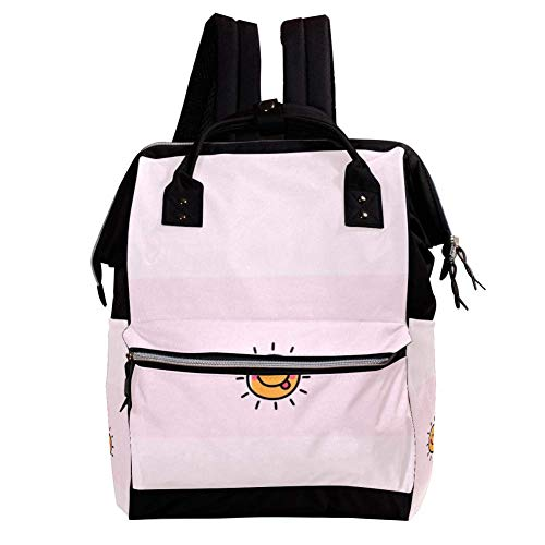 Sonne Wickeltasche Große Kapazität Wickelrucksack Multiple Pockets Mummy Bag Dual-Use Tragbare Handtasche für Reisen Baby Wickelunterlage Tote Bag 27x19.8x36.5cm