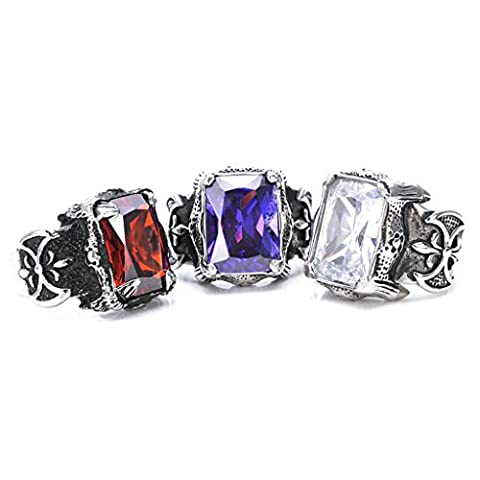 Men's 316L Stainless Steel Retro Inlaid Ruby Ring Red Gothic Vintage Biker Size T 1/2