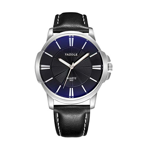 LCLrute Yazole Herrenuhr Luxus Top Marke Business Männliche Uhr Quarz-Armbanduhr Freizeit Leder Quarzuhr (F)