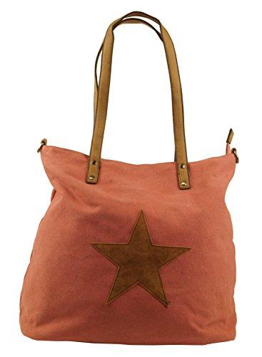 KENDT Design - Canvas Stern Tasche Damen, Stofftasche mit Leder Stern, Schultertasche Henkeltasche verschiedene Farben (F3150) (Navy-dunkelblau) Pink-Rosa