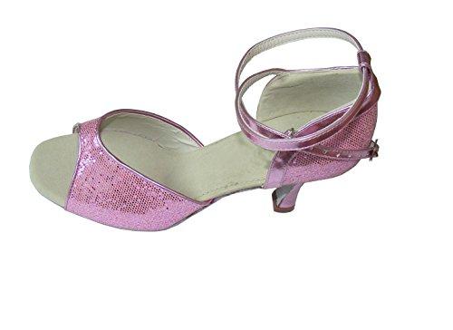 Pobofashion Rote/rosa zehenfreie Damentanzschuhe für lateinamerikanische Tänze (EU41, rosa)
