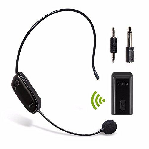 SHIDU U8 UHF Micrófono inalámbrico, transmisión inalámbrica estable 35m, auriculares y de mano 2 en 1, para el amplificador de voz, ordenador, altavoces,Karaoke y más