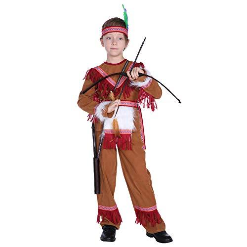YuFLangel Kinder Halloween Kostüm Mädchen Jungen Halloween Cosplay Kostüm 4-12 Jahre Indische Prinz Kostüm Performance Maskerade Cos Hunter Suit (Größe : M)