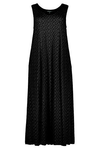 Ulla Popken Damen große Größen bis 64, Jerseykleid mit Punkten, Ärmellose Form, V-Ausschnitt, schwingender Saum, schwarz 58/60 722382 10-58+